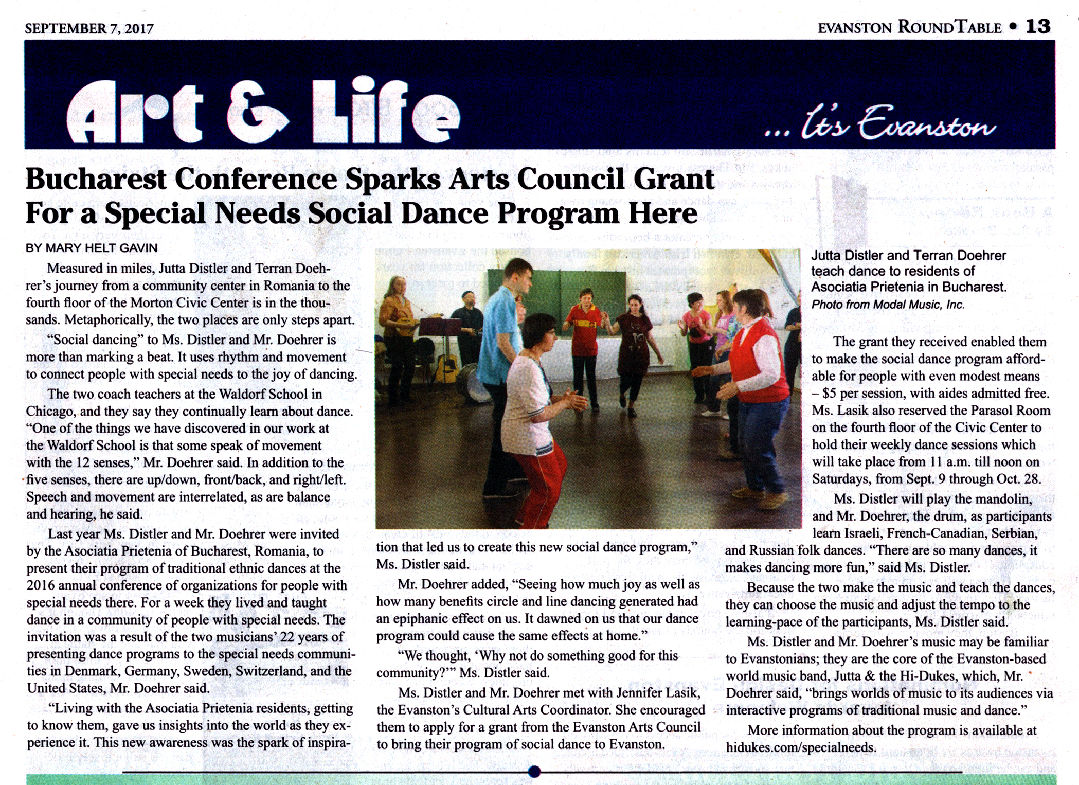 Image of Evanston Round Table article about the Jutta & the Hi-Dukes Special Needs Social Dance program inspired by their work in Romania.