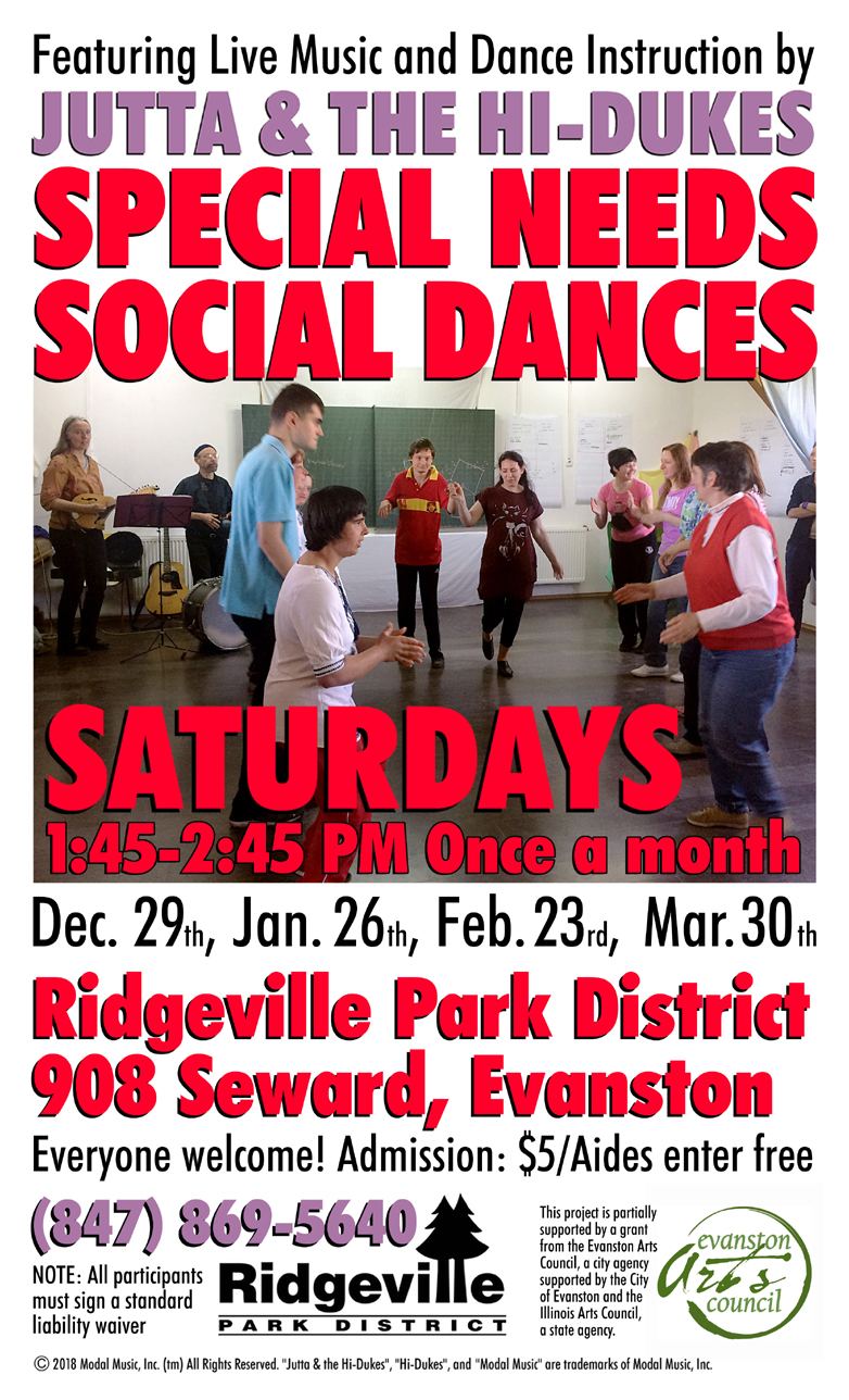 Image of the Jutta & the Hi-Dukes poster for Special Needs Saturday social dance program PDF file. Click to download the printable PDF file for the Jutta & the Hi-Dukes poster for Special Needs Saturday social dance program. Copyright 2018, Modal Music, Inc. (tm). All rights reserved.