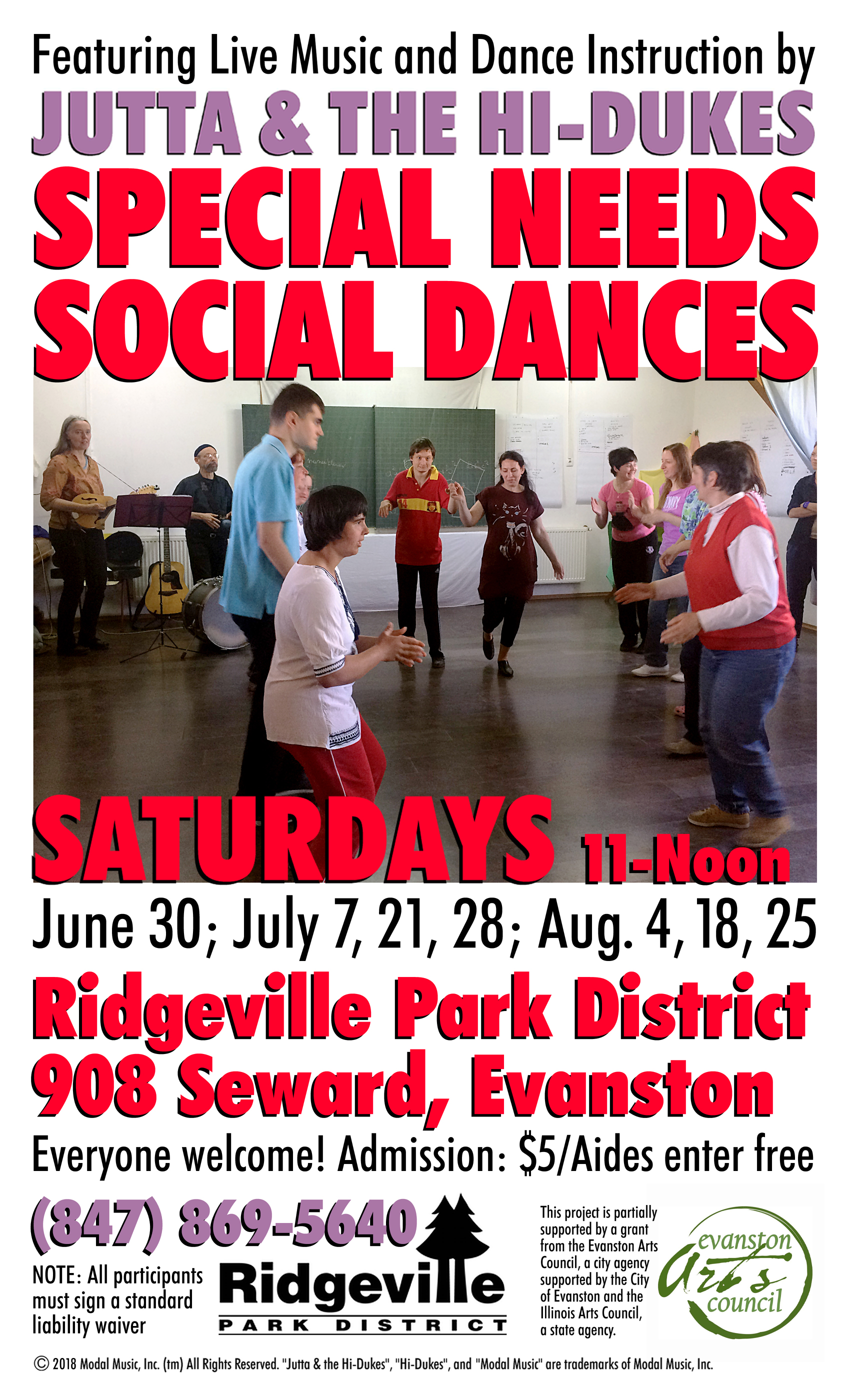 Image of the Jutta & the Hi-Dukes poster for special needs social dance program PDF file. Click to download the printable PDF file for the Jutta & the Hi-Dukes poster for special needs social dance program. Copyright 2018, Modal Music, Inc. (tm). All rights reserved.