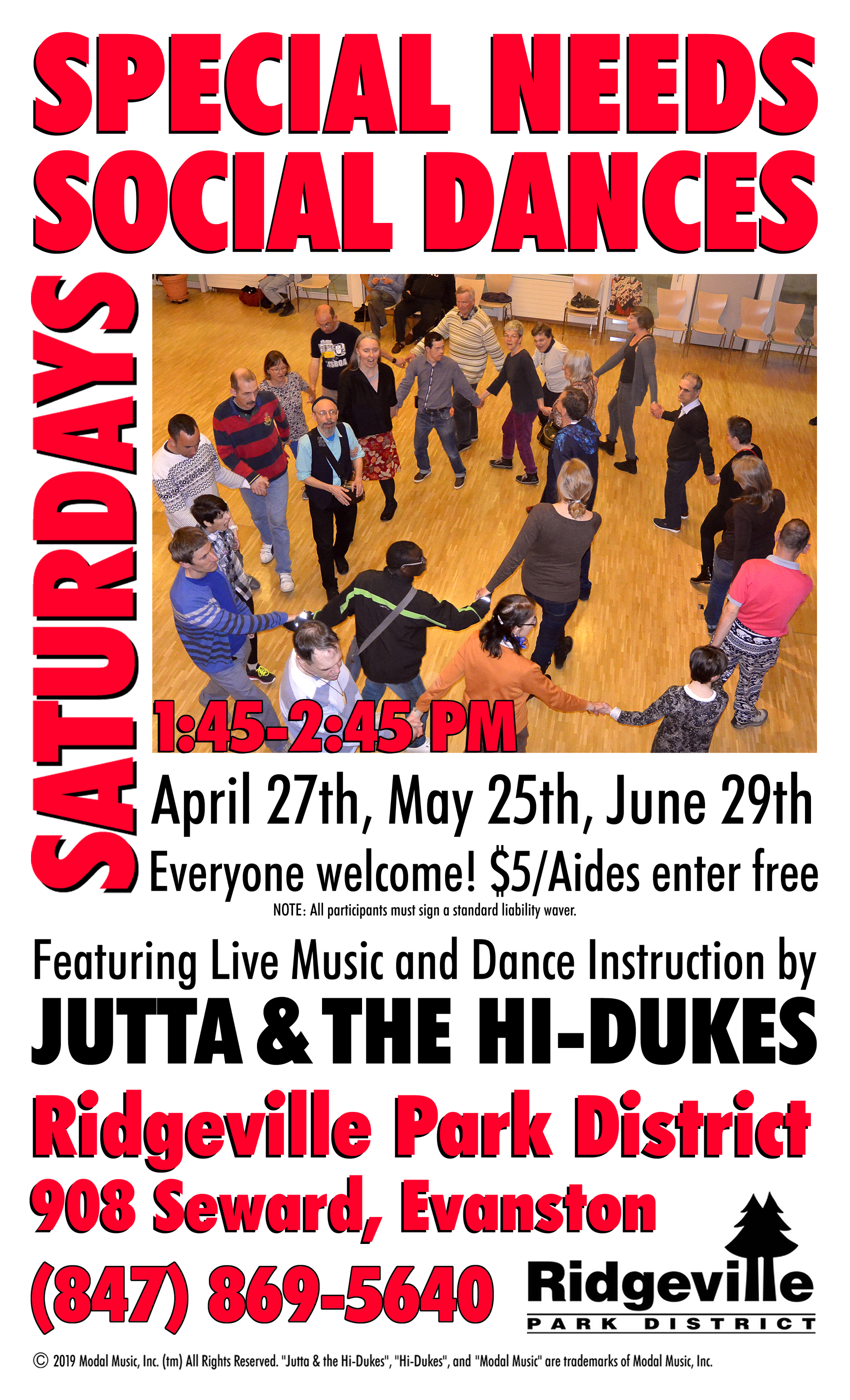 Image of the Jutta & the Hi-Dukes poster for Special Needs Saturday social dance program PDF file. Click to download the printable PDF file for the Jutta & the Hi-Dukes poster for Special Needs Saturday social dance program. Copyright 2019, Modal Music, Inc. (tm). All rights reserved.