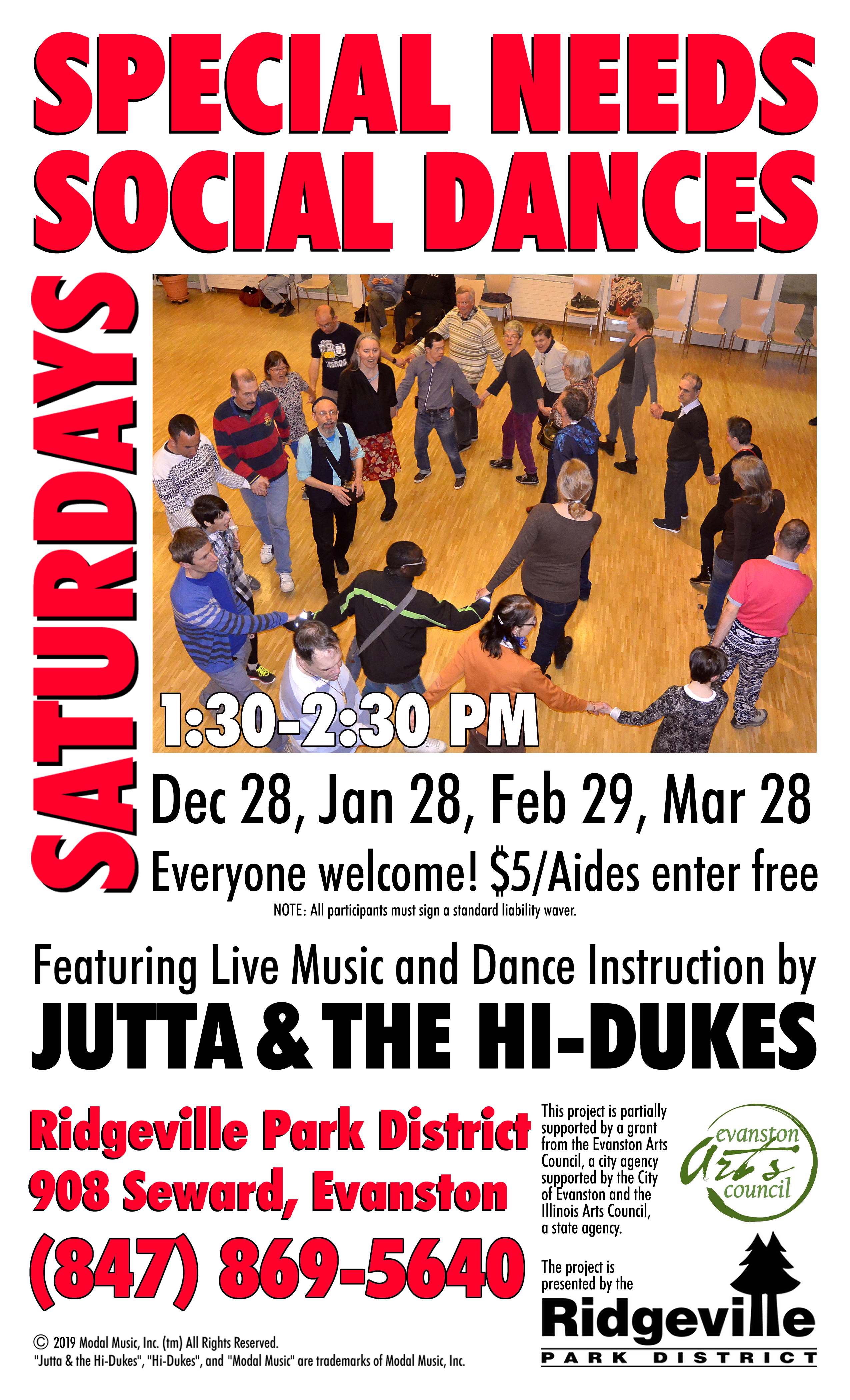 Image of the Jutta & the Hi-Dukes poster for Special Needs Saturday social dance program PDF file. Click to download the printable PDF file for the Jutta & the Hi-Dukes poster for Special Needs Saturday social dance program. Copyright 2020, Modal Music, Inc. (tm). All rights reserved.