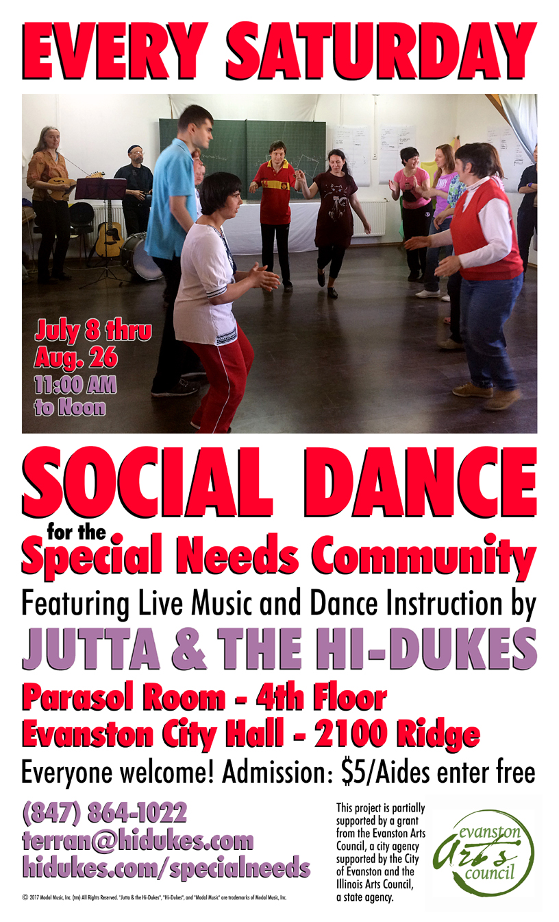 Image of the Jutta & the Hi-Dukes poster for special needs social dance program PDF file. Click to download the printable PDF file for the Jutta & the Hi-Dukes poster for special needs social dance program. Copyright 2017, Modal Music, Inc. (tm). All rights reserved.