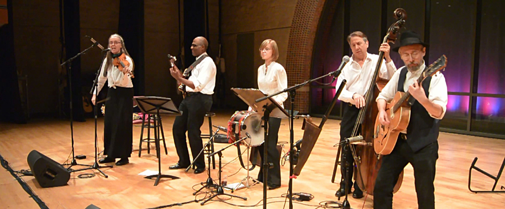 Image of Jutta & the Hi-Dukes (tm) performing as a quintet at the University of Missouri, St. Louis.