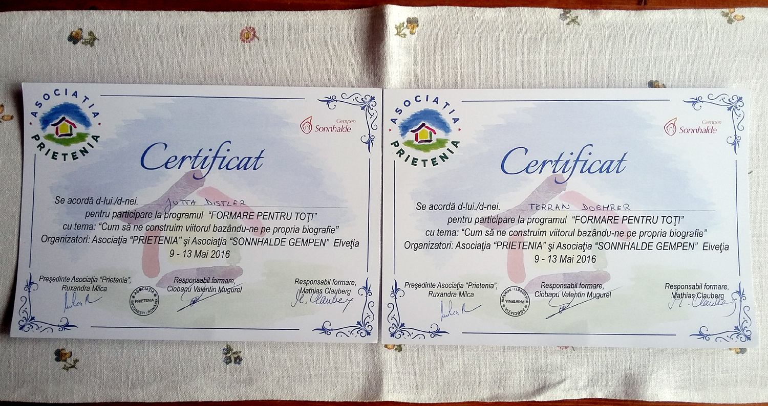 Image of Terran's and Jutta's certificate from the Asociaţia Prietenia at the Pantelimon residence in Bucharest, Romania, May 2016