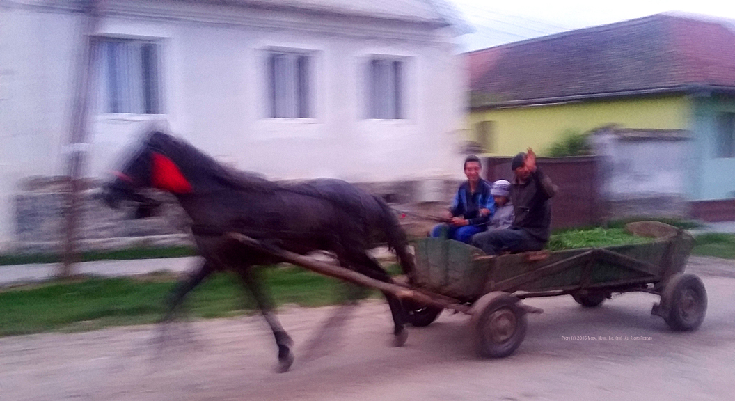 Image of horse cart with three people in Roşia, Romania