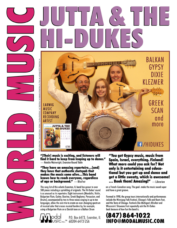 Image of the Jutta & the Hi-Dukes One-sheet brochure PDF file. Click to download the printable PDF file for the Jutta & the Hi-Dukes One-sheet brochure. Copyright 2013, Modal Music, Inc. (tm). All rights reserved.