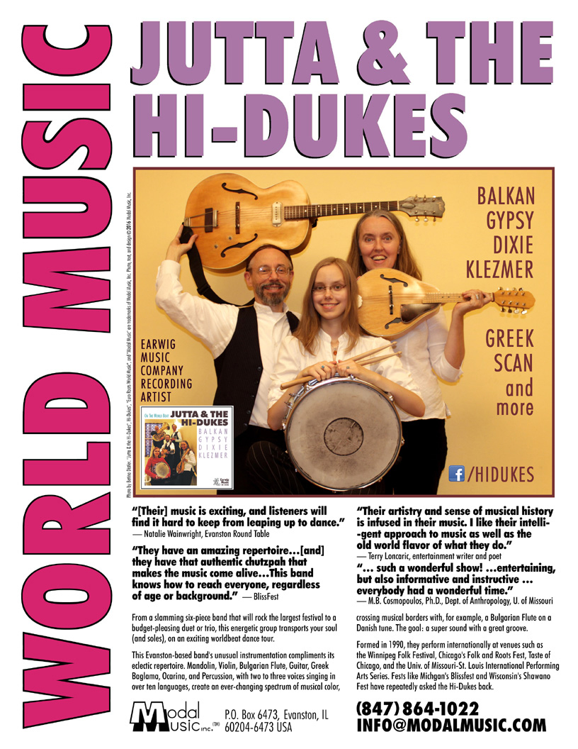 Image of the Jutta & the Hi-Dukes One-sheet brochure PDF file. Click to download the printable PDF file for the Jutta & the Hi-Dukes One-sheet brochure. Copyright 2016, Modal Music, Inc. (tm). All rights reserved.