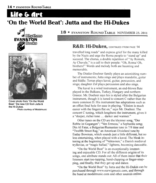 Image of page two of two of the Evanston Round Table November 23, 2011 clipping about Jutta & the Hi-Dukes (tm)