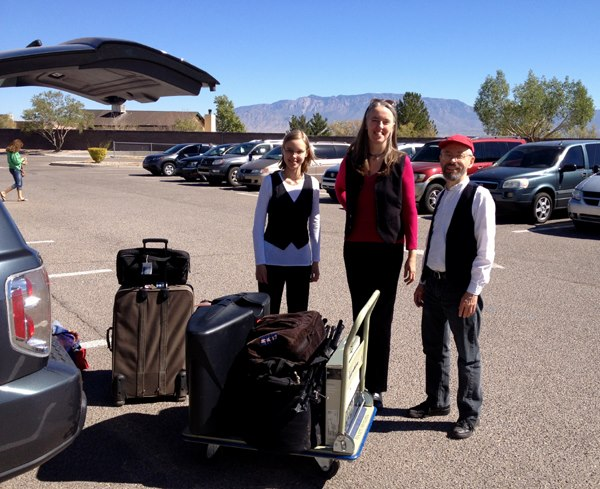 Image of Jutta & the Hi-Dukes (tm) in the parking lot of an Albuquerque, NM school in front of the Sandia (Watermelon) mountain range, October 2012. © 2012 Modal Music, Inc. (tm) All rights reserved.