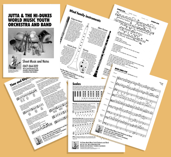 Image of various pages from the Hi-Dukes World Music Youth Orchestra and Band Workbook