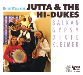 Image of Jutta & the Hi-Dukes CD cover of On The World Beat released by Earwig Music Company.