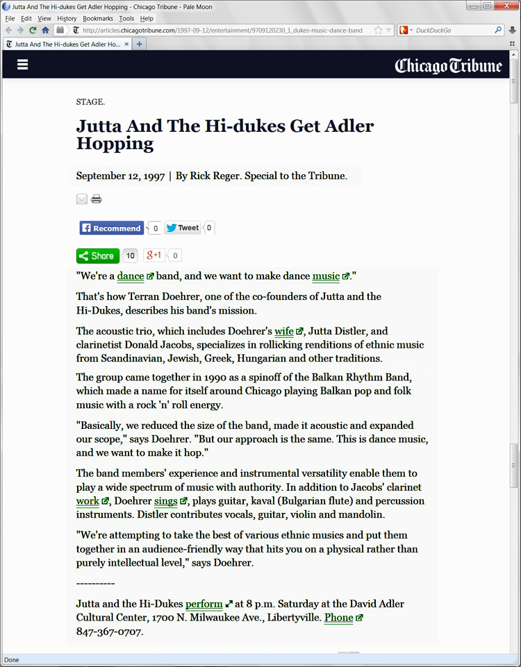 Image of the Chicago Tribune September 12, 1997 clipping about Jutta & the Hi-Dukes (tm)