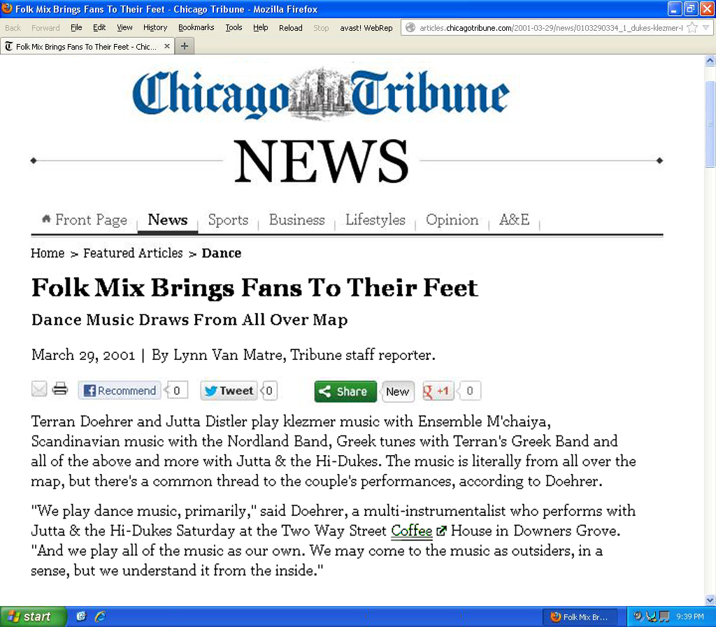 Image of the Chicago Tribune March 29, 2001 web page about Jutta & the Hi-Dukes (tm)