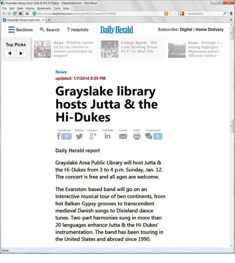 Image of the Grayslake Daily Herald January 7, 2014 web page about Jutta & the Hi-Dukes (tm)