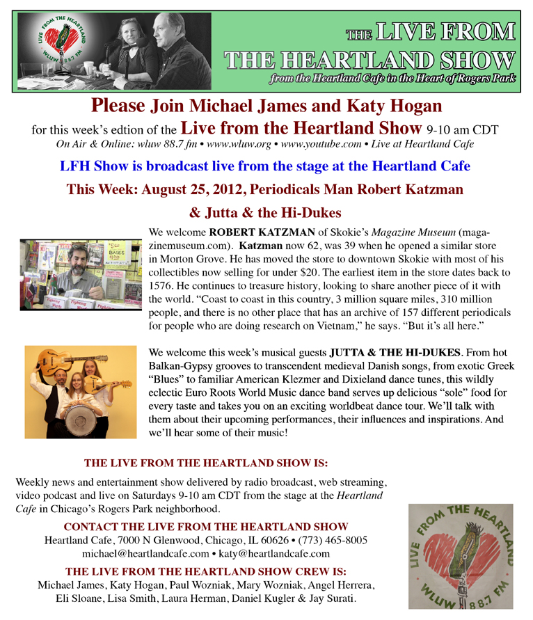 Image of the Heartland Show WLUL 88.7 FM August 25, 2012 poster clipping about Jutta & the Hi-Dukes (tm)