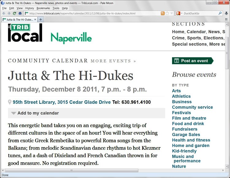 Image of the Naperville Tribune December 11, 2011 web page about Jutta & the Hi-Dukes (tm)