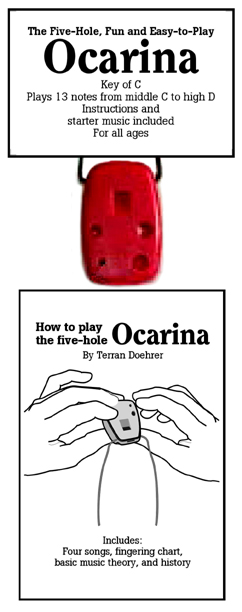 Image of Ocarina and Front Cover of Ocarina Instruction Booklet.