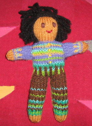 Image of Boy version of Globe Toddlers (tm) Hand-knit Little Person by Jutta Distler.