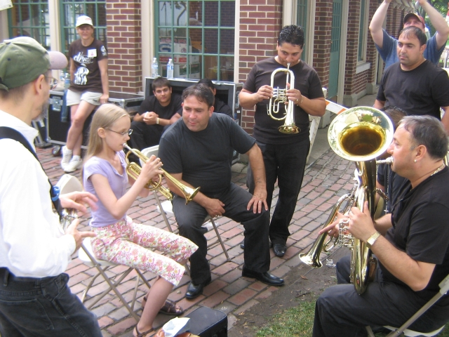 Image of Zoï Doehrer and Terran Doehrer with the Boban Markovich Orchestra backstage at the Evanston Ethnic Festival July 2008. © 2008 Modal Music, Inc. (tm) All rights reserved.