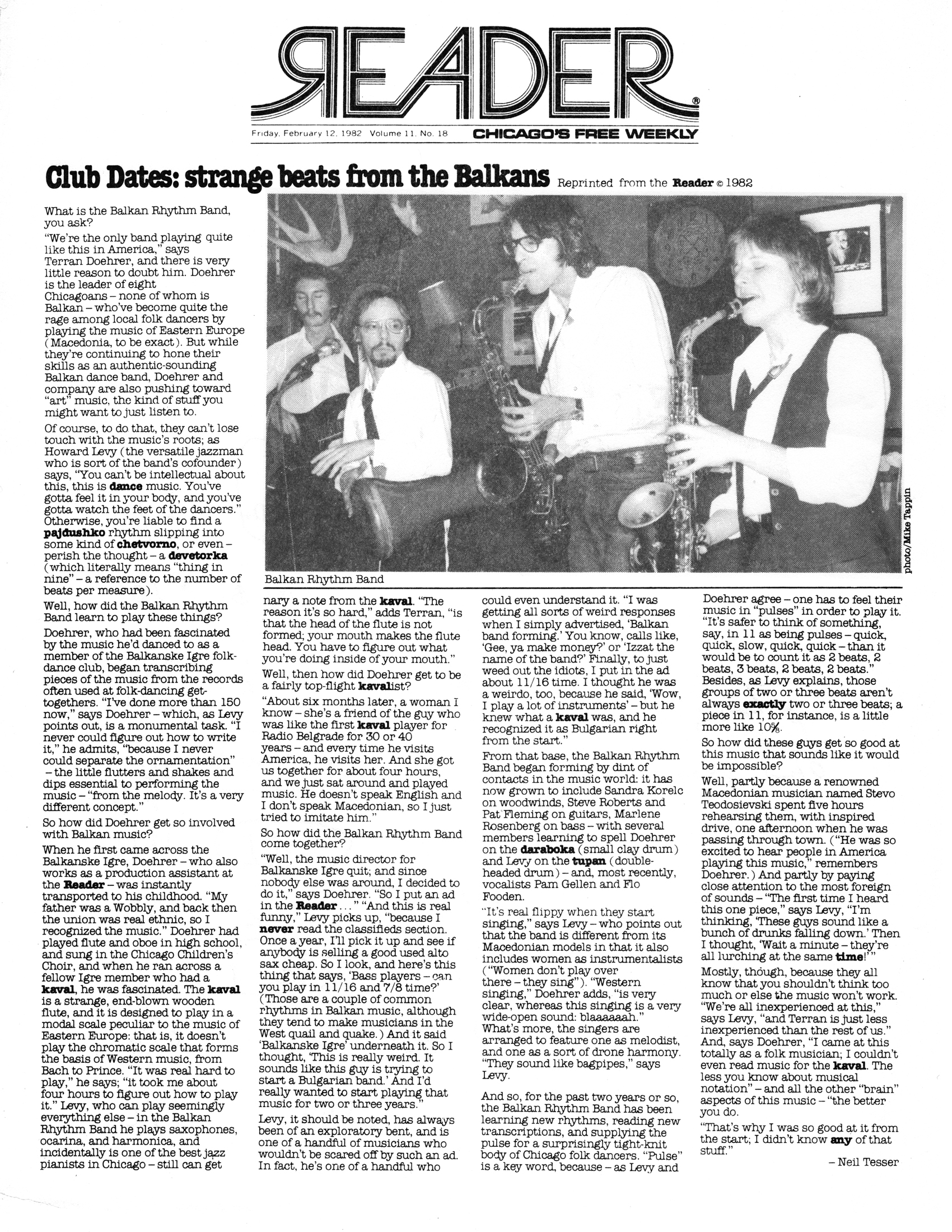 Chicago Reader newspaper February 12, 1982 clipping about the Balkan Rhythm Band (tm)