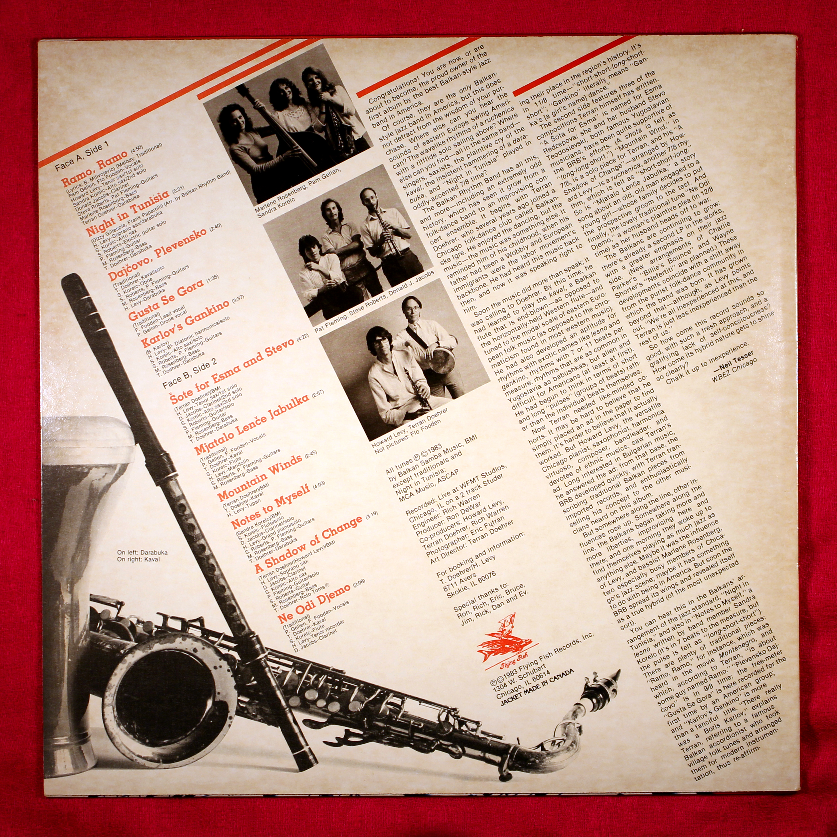 """Back cover of """"The Jazziest Balkan Dance Band Around LP,"""" FF314."""