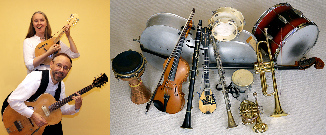 Photo of Jutta & the Hi-Dukes with still life of musical instruments
