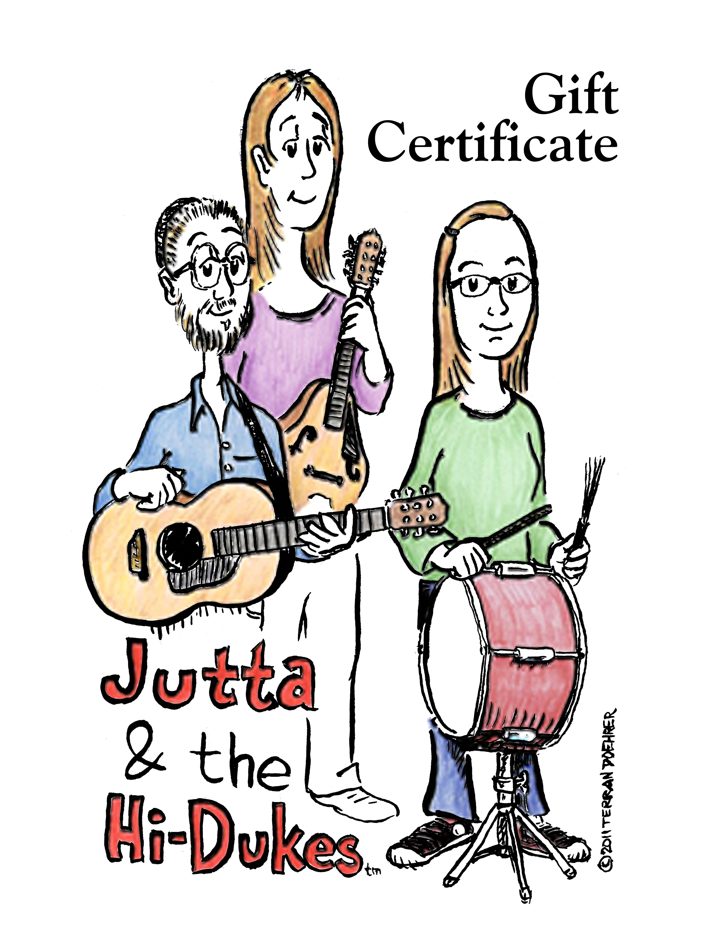 Front side of a Hi-Dukes Gift Certificate with a cartoon drawing of the band as a trio.