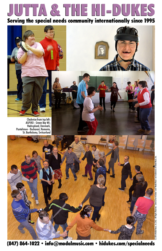 Jutta & the Hi-Dukes brochure for Special Needs programs PDF file. Click to download the printable PDF file for the Jutta & the Hi-Dukes brochure for Special Needs programs. Copyright 2016, Modal Music, Inc. (tm). All rights reserved.