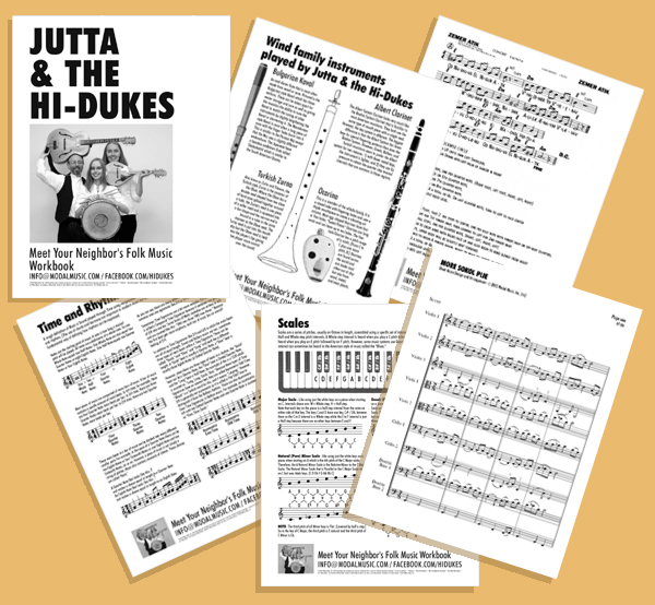 Various pages from the sixteen-page Hi-Dukes School Program Workbook