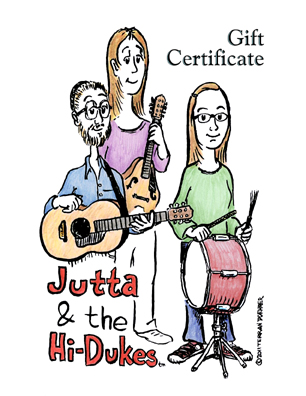 Image of Jutta & the Hi-Dukes (tm) Gift Certificate Card.