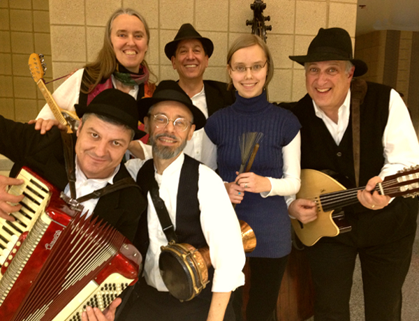 Image of Jutta & the Hi-Dukes (tm) as a sestet – Zoï Doehrer – drums, Jutta Distler – mandolin, Terran Doehrer – percussion, George Petrov – accordion, Marc Edelstein – bass, Mark Gavoor – oud. Photo copyright 2012 Modal Music, Inc. (tm) All rights reserved.