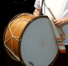Tupan, a double-headed drum in the tradition of the Bulgarian drum played with two different weight sticks.